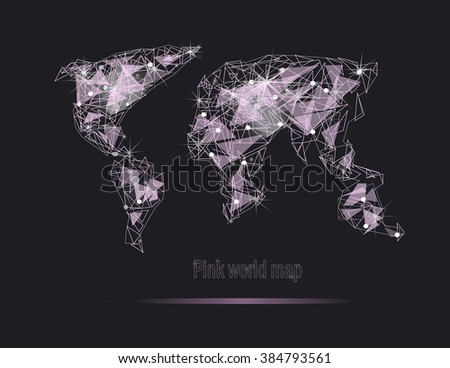 Pink world map diamond shines. Polygonal world map. Global travel geography and connect, continent and planet, vector illustration - stock vector