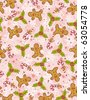 pink wrapping paper with christmas elements,  vector illustration - stock photo