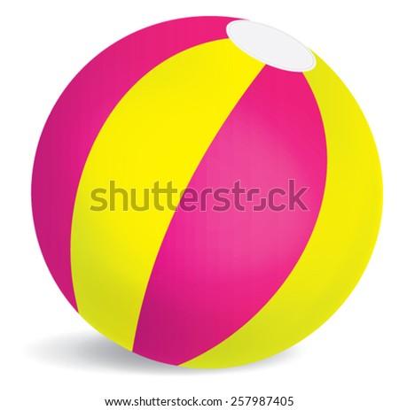 Pink, yellow green bouncy beach ball vector isolated - stock vector