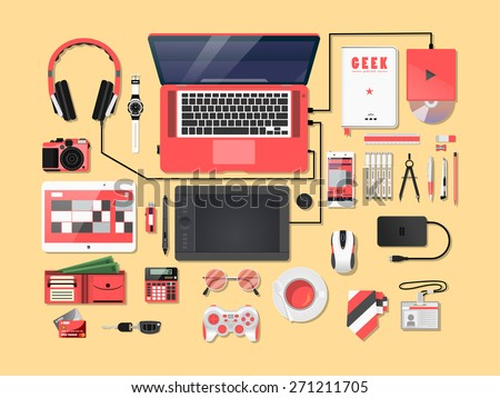 Pinkies Complete modern vector illustration concept of creative office workspace. Top view of desk background with laptop, digital devices, office objects, books and documents. - stock vector