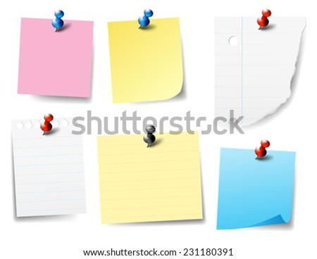 Pinned Paper Notes, Labels - stock vector