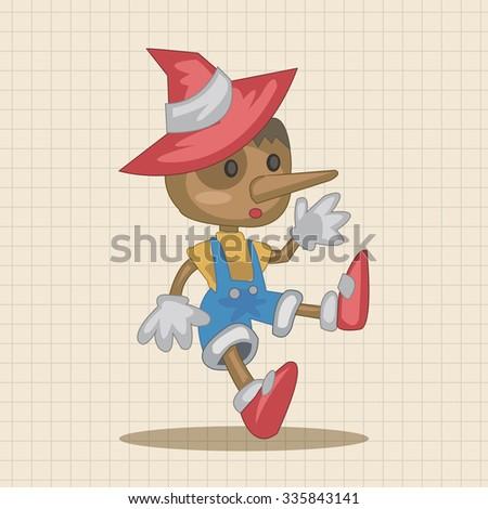 Pinocchio theme elements - stock vector