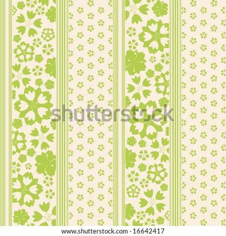 Pinstripe Garden Seamless Pattern - stock vector