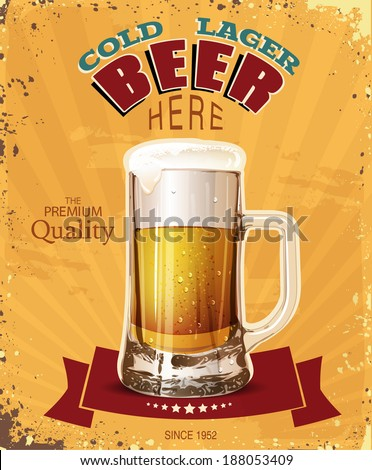 Pint. Mug of beer. Poster in vintage style. Vector illustration. - stock vector