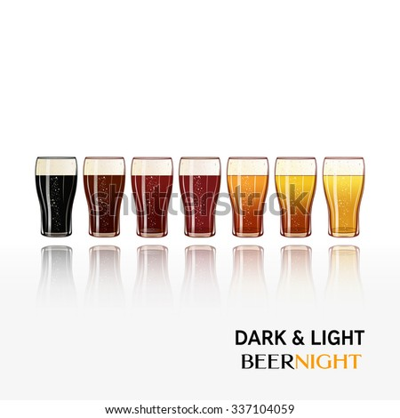 Pints of cold beer vector illustration. All kinds and colors of beer. Isolated. Dark, Amber and light. Seven realistic glasses of beer. Great design poster for bars and pubs. Cool design for pub menu. - stock vector