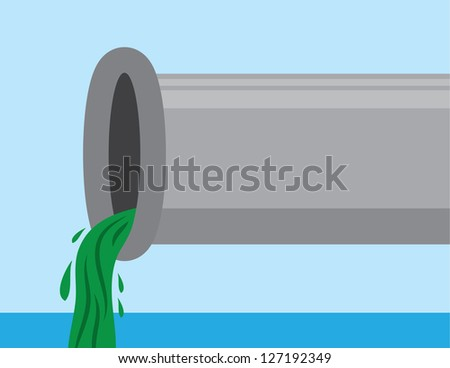 Pipe with sludge pouring out into water - stock vector