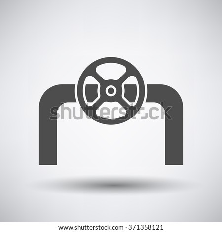 Pipe with valve icon on gray background with round shadow. Vector illustration.