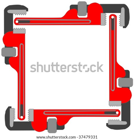 pipe wrench photo frame against white background, abstract vector art illustration