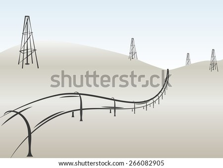 Pipeline and oil rigs in desert. Perspective vintage vector illustration