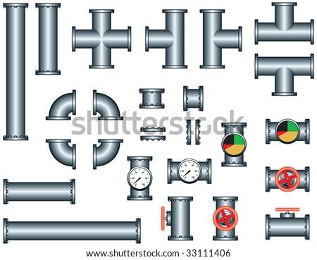 pipeline construction pieces set - stock vector