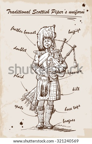 Piper, playing the Great Highland Bagpipes in traditional Scottish piper's uniform. Sketch over grunge textured background. EPS10 vector illustration. - stock vector