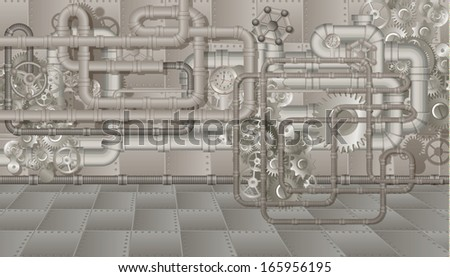 Pipes and cogwheels steampunk background - stock vector