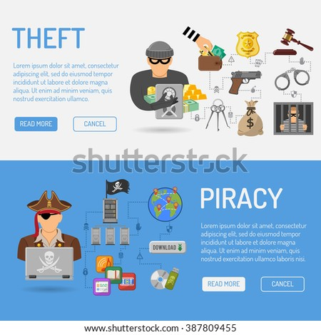 Piracy and Theft Vector Banners for Flyer, Poster, Web Site, Printing Advertising Like Thief and Pirate. - stock vector
