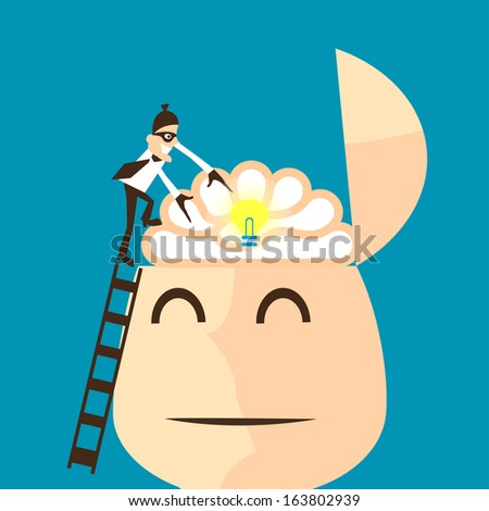 Piracy. thief stealing bulb from a head - stock vector