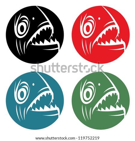 Piranha badge - vector illustration - stock vector