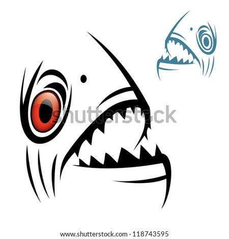 Piranha head - vector illustration - stock vector