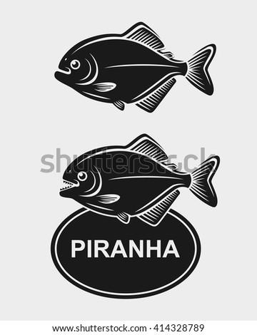 Piranha set. Vector - stock vector