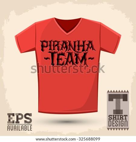 Piranha Team - vector emblem, shirt print template, silkscreen punk style vector lettering - stock vector
