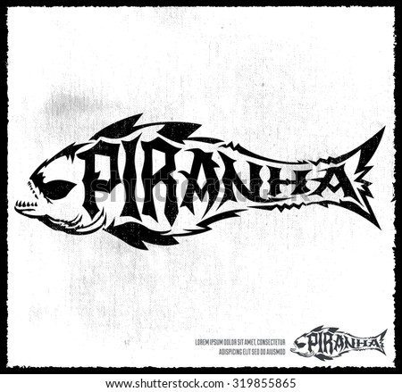 Piranha vector lettering with the shape of a fish - hardcore emblem - stock vector