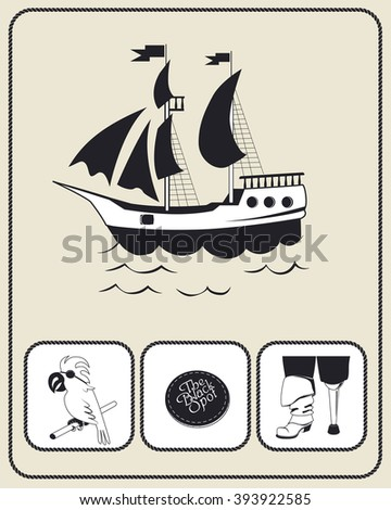 Pirate accessories flat icons collection. The black spot. One-legged cripple-pirat. African gray parrot. Ship and black sails
