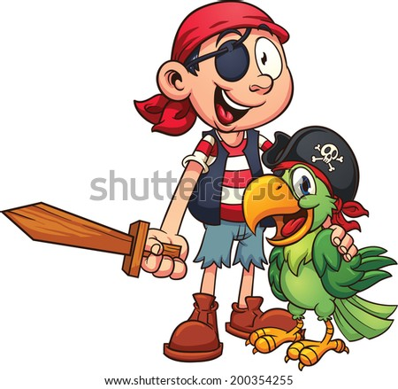 Pirate and parrot. Vector clip art illustration with simple gradients. All in a single layer. - stock vector