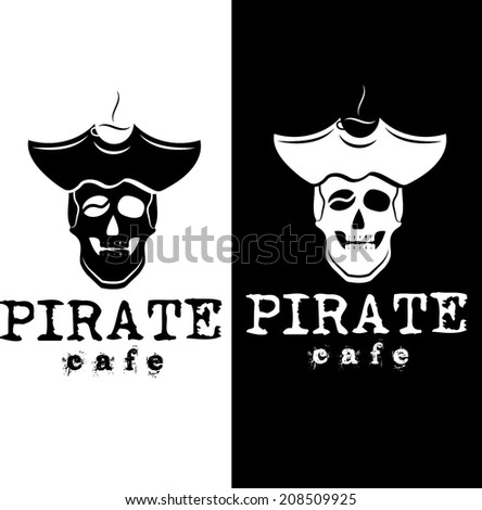 pirate cafe illustration - stock vector