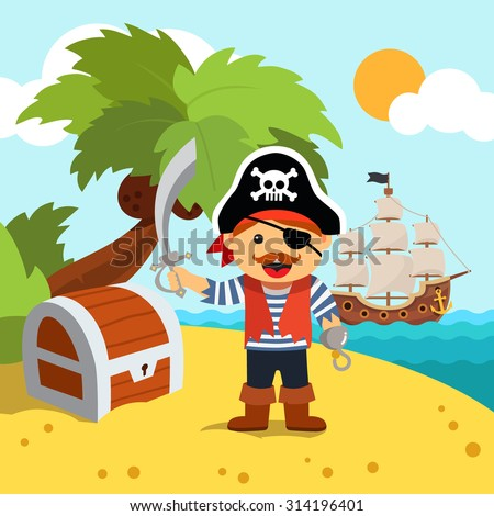 Pirate captain disembarked on a palm tree beach island shore to bury his treasure chest. Vector flat style isolated cartoon illustration. - stock vector