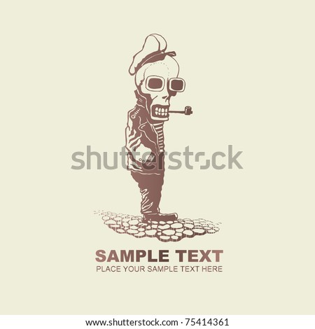 Pirate Captain Skeleton, funny character. vector illustration. - stock vector