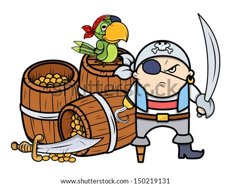 Pirate Captain with Treasure and Parrot - Vector Cartoon Illustration