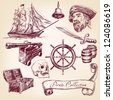 pirate collection - hand drawn vector illustration - stock vector