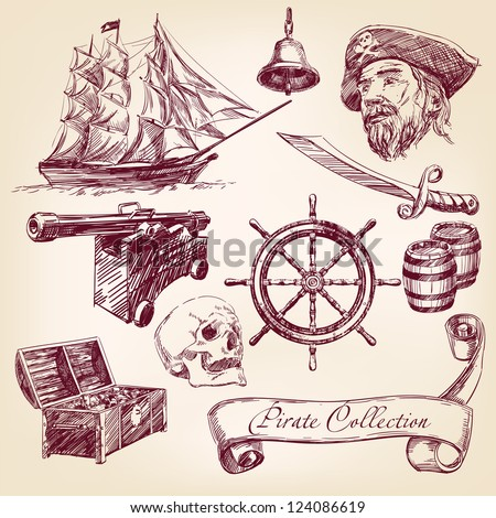 pirate collection - hand drawn vector illustration