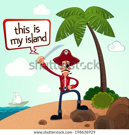 pirate discover an island after a long journey - stock vector