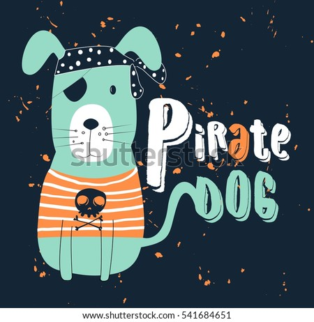 pirate dog, T-shirt graphics for kids vector illustration