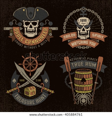 Pirate emblem with skulls and grunge texture. Logos, text, background and grunge texture on separate layers. - stock vector