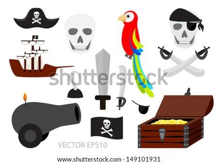 Pirate equipment vector set - stock vector