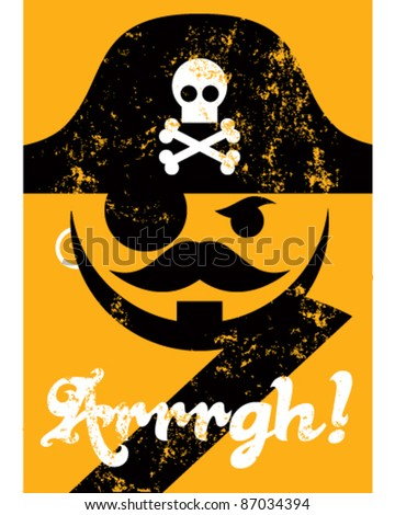 Pirate face with hat, distressed poster - stock vector
