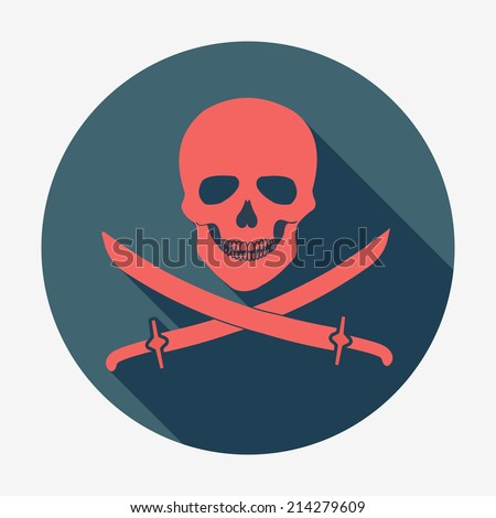 Pirate flag icon, jolly roger, skull and sabers. Flat design style modern vector illustration. Isolated on stylish color background. Square flat long shadow icon. Elements in flat design. - stock vector