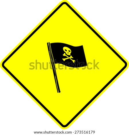 pirate flag sign - stock vector