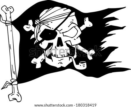 pirate flag, skull - stock vector