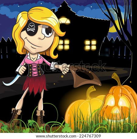 Pirate girl and Jack o lanterns near the house with glowing windows. Halloween night scene  - stock vector