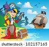 Pirate girl on coast 2 - vector illustration. - stock vector