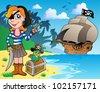 Pirate girl on coast 1 - vector illustration. - stock photo