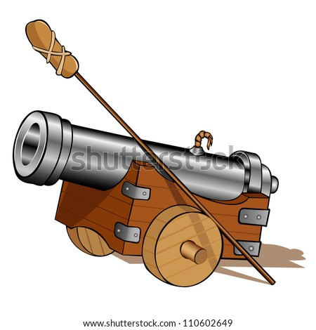 pirate gun cannon icon isolated - stock vector