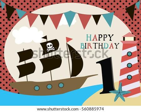 Pirate happy birthday invitation card template stock vector 2018 pirate happy birthday invitation card template vector illustration stopboris Image collections