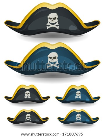 Pirate Hat Set/ Illustration of a set of cartoon pirate or corsair hat with skull head and cross bones insignia - stock vector