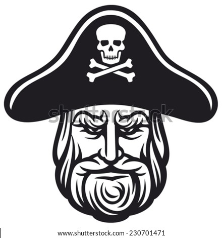 pirate head with pirate hat - stock vector