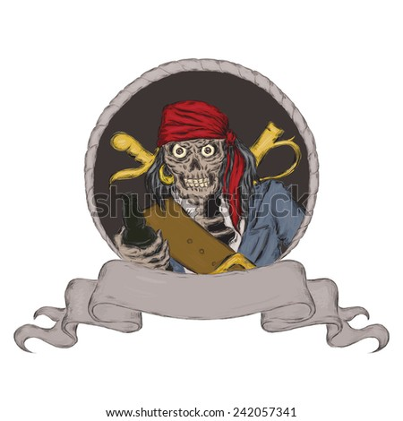 Pirate holding bottle of rum. Hand drawn scull illustration with space for text