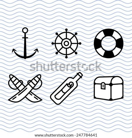 Pirate Icon Set, Marine Theme Icon Set