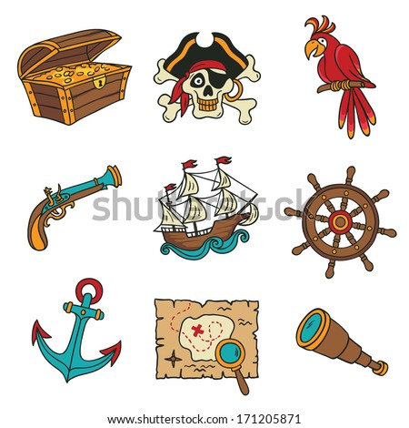 pirate icons set - stock vector