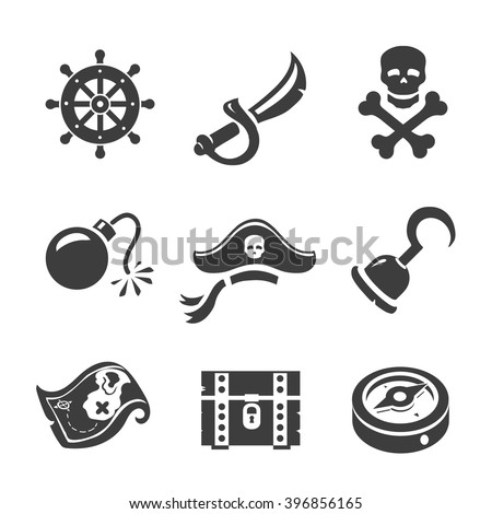Pirate Icons  Skull and chest, pirates treasure map, pirates hat and sword. - stock vector